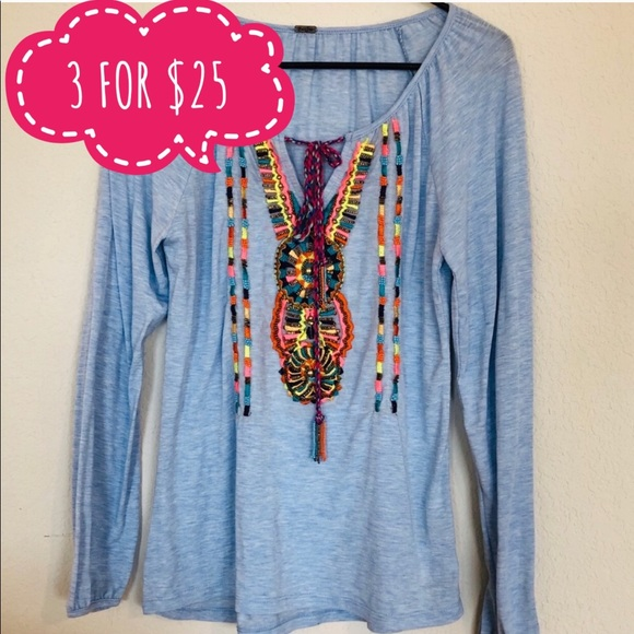 Poof! Tops - Poof chambray heathered beaded  top